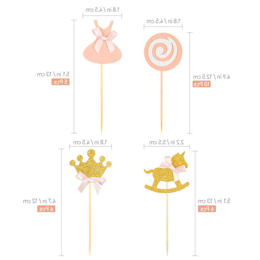 BESTONZON Princess Themed Birthday Cake Picks