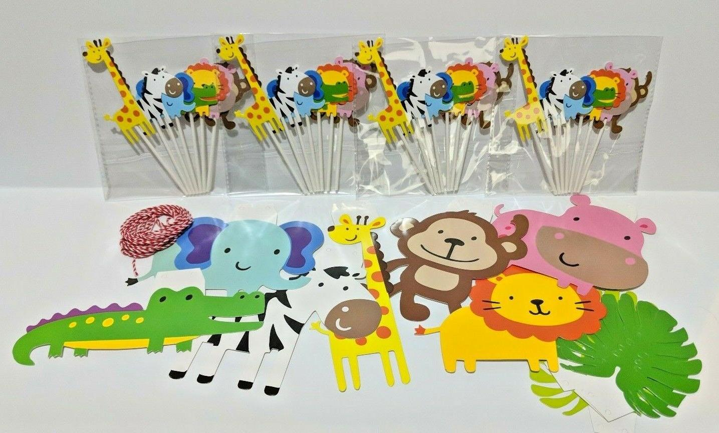 28 Pack Safari Animal Cupcake Pick Toppers and Banner Party