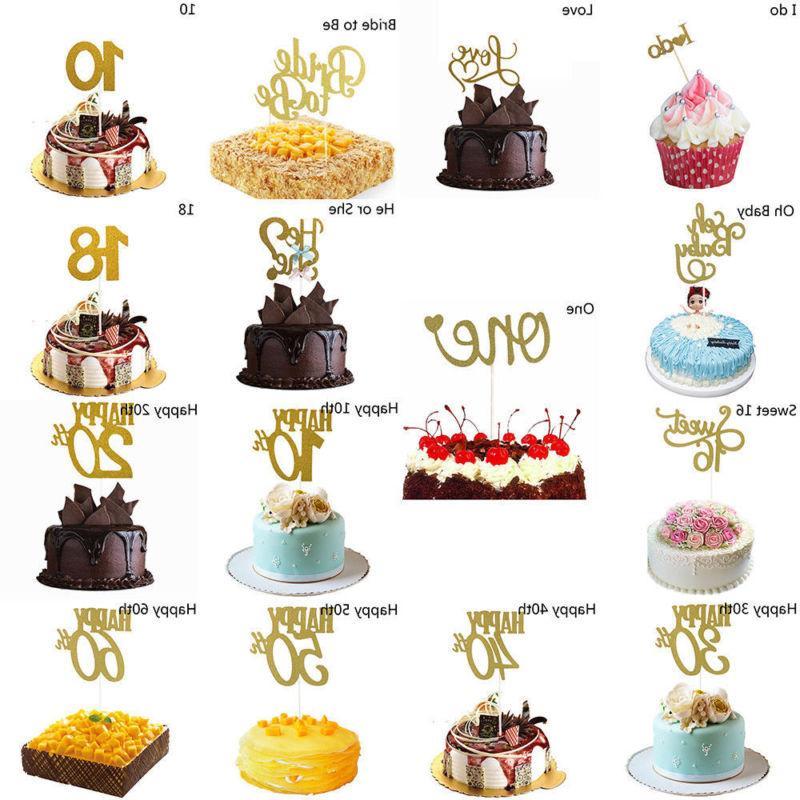 30/40/50/60th Cupcake Toppers Glitter Happy Birthday Cake Fl