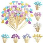 30/90Pcs Glitter Heart Cupcake Toppers Party Baby Shower Wed