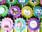 30 JUNGLE SAFARI NOAH ANIMALS Cupcake Toppers Bday Party Fav