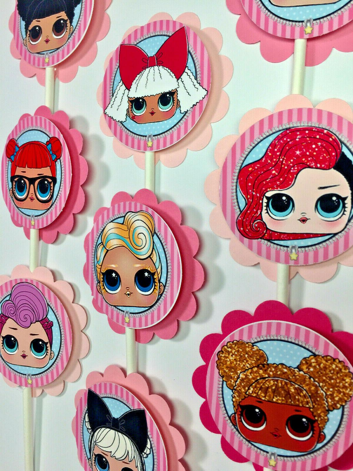 30 Dolls Party Cupcake Toppers to