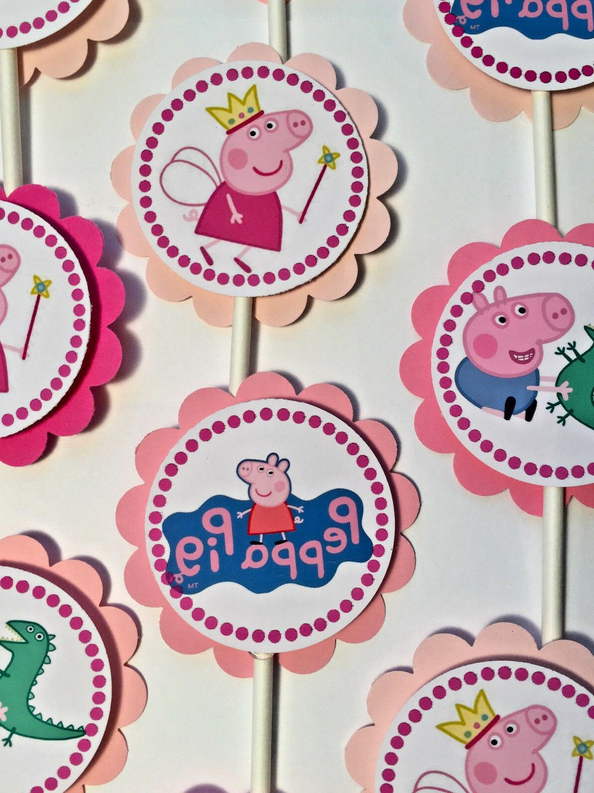 30 Peppa Pig Dimensional Party Cupcake Toppers *Ready to Shi