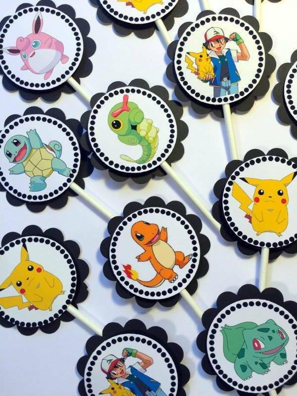 30 pokemon dimensional cupcake toppers ready to