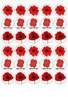 30 poppy rememberance day cupcake toppers wafer
