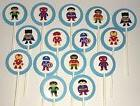 30 SUPERHERO KIDS Cupcake Toppers Birthday Party Favors, Bab