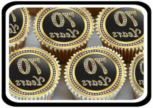 30 X GOLD 70TH BIRTHDAY ANNIVERSARY  EDIBLE CUPCAKE TOPPERS