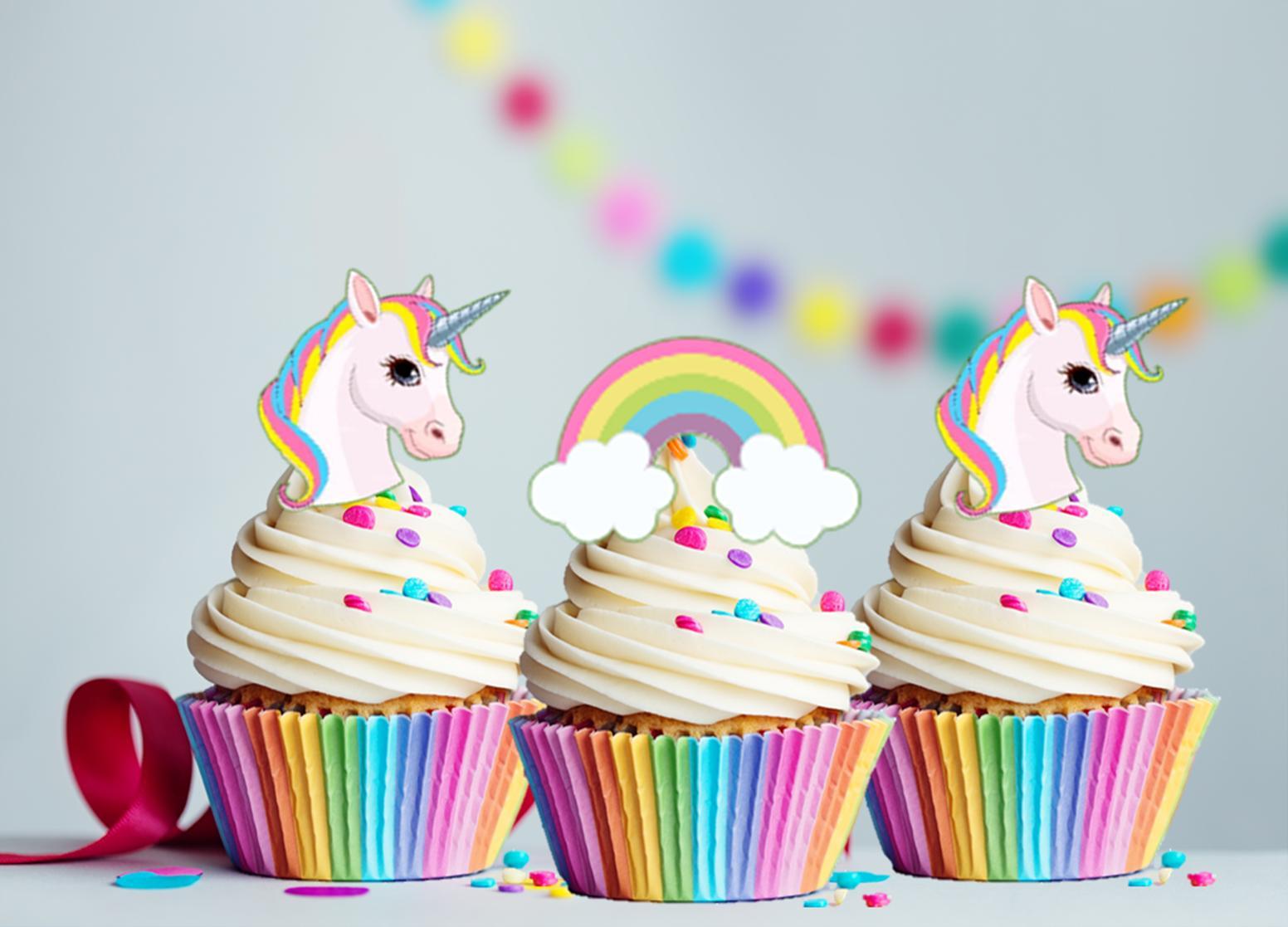 30 x mini unicorn and rainbows edible