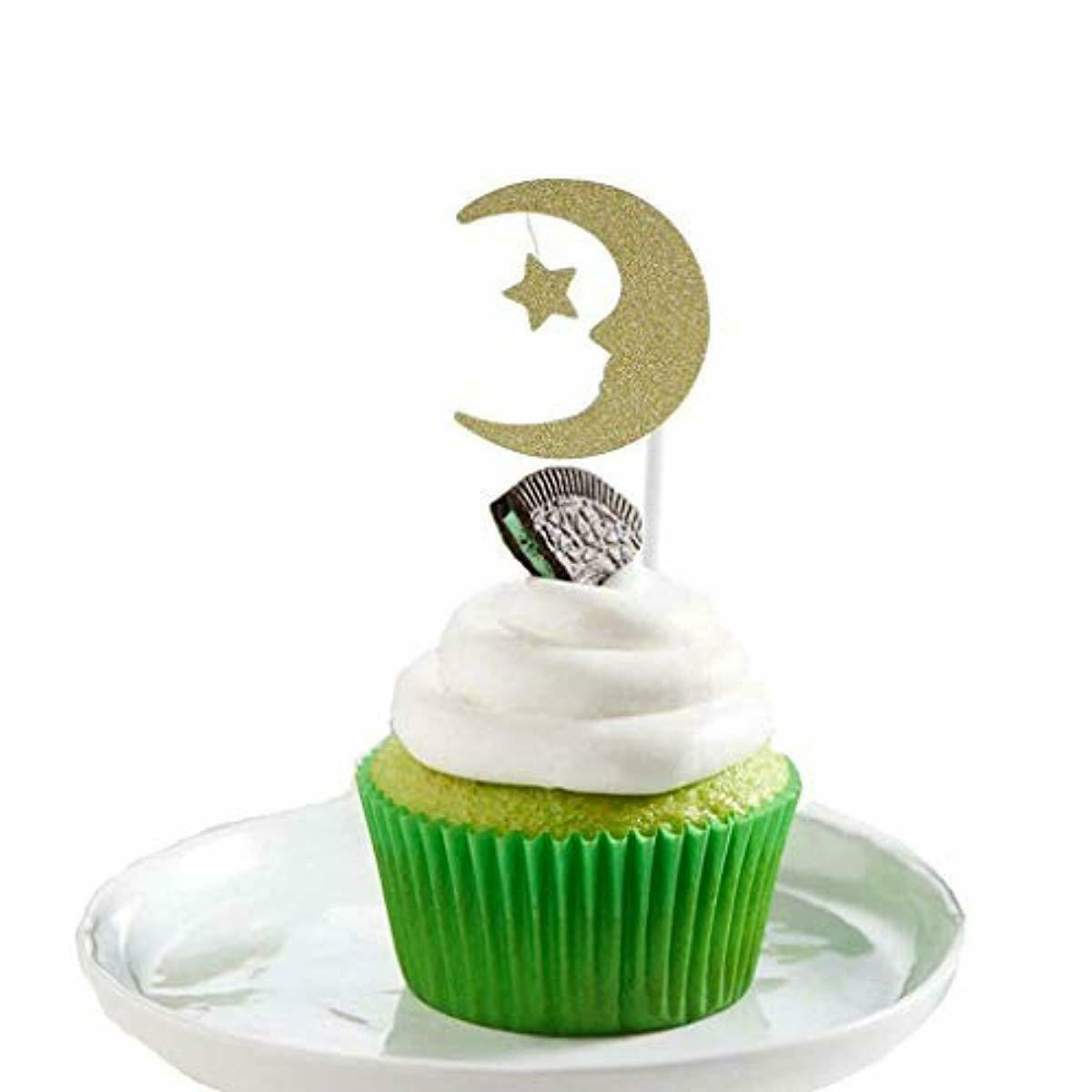 30Pcs Cupcake Toppers Paper Moon Star Topper