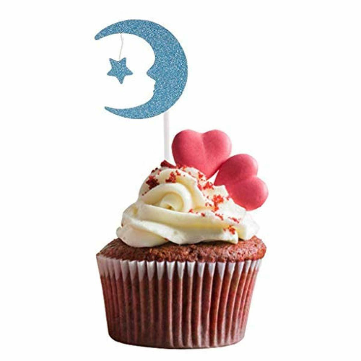 30Pcs Cupcake Toppers Paper Moon Star Cake Topper Wedding