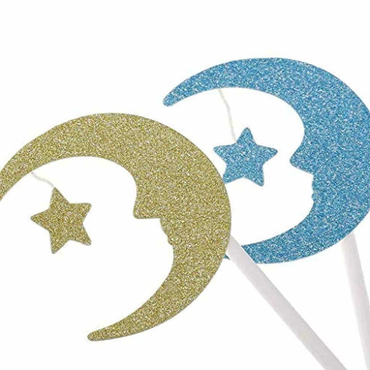 30Pcs Cupcake Toppers Paper Moon Topper Engagement