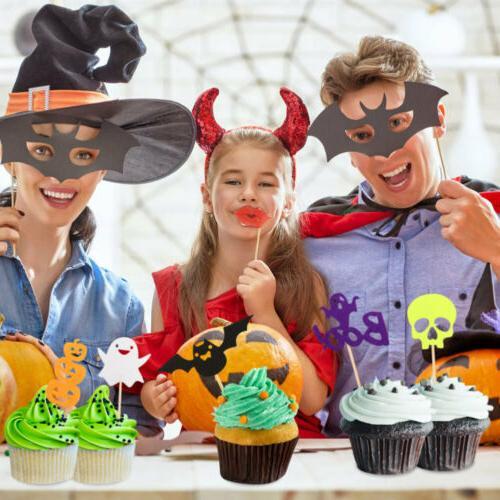 30pcs Halloween Toppers Pumpkin Bat Food Picks