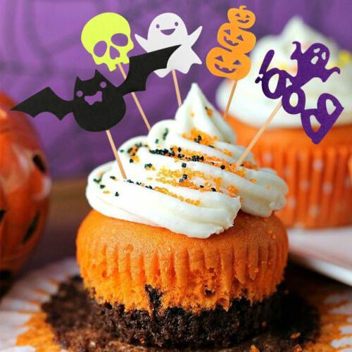 30pcs Halloween Pumpkin Bat Ghost Food Cake Decor