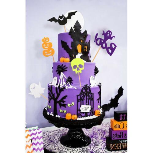 30pcs halloween cupcake toppers pumpkin bat ghost