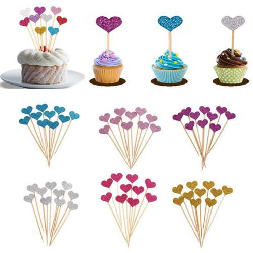 30pcs love heart birthday cupcake toppers party