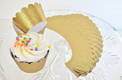 36 handcrafted gold glitter cupcake