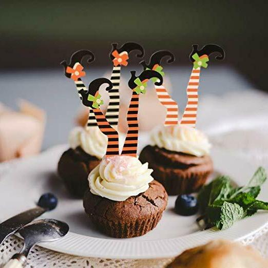 36 Witch's Cupcake Toppers Appetizer, Unique Non-Toxic