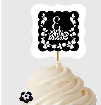 3rd Birthday / Anniversary Blessed Cupcake Decoration Topper