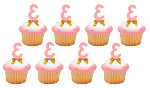 3rd Birthday / Anniversary Pink Number Cupcake Topper Picks