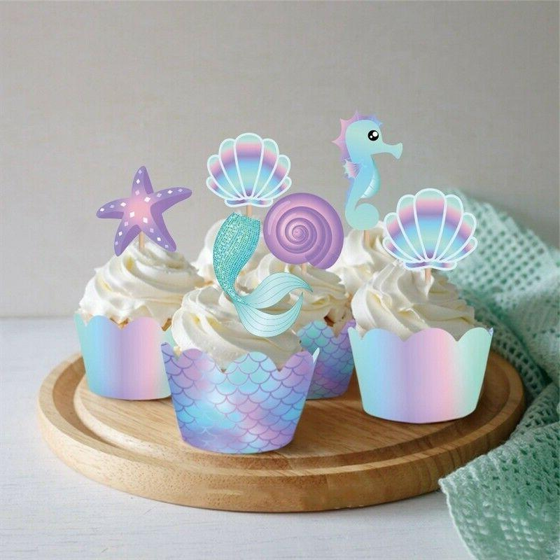 40Pcs Mermaid & Toppers Birthday Party Decoration