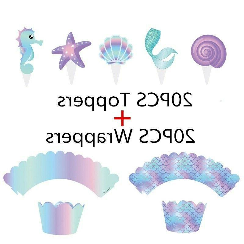 40Pcs Mermaid Cupcake Wrappers & Toppers Baby Shower Birthda