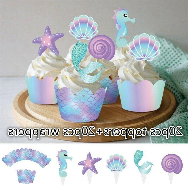 40Pcs Mermaid & Toppers Baby Birthday Party Decoration