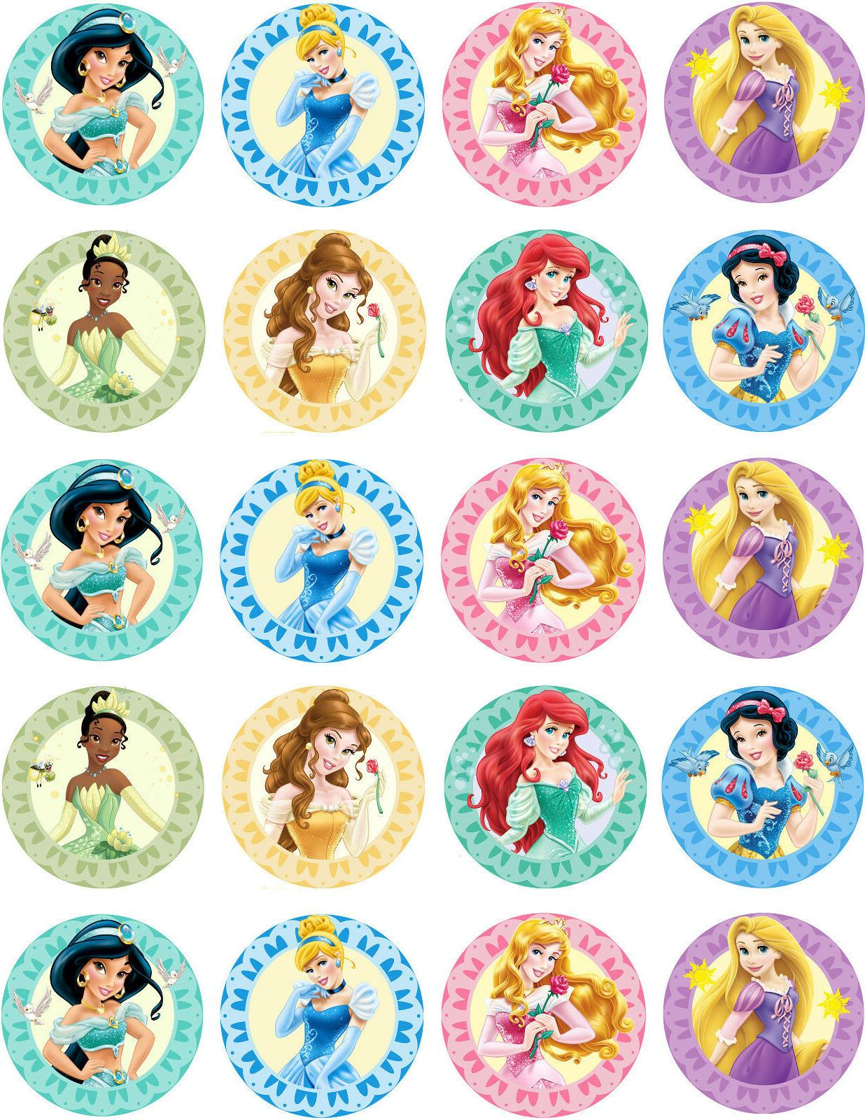 40x EDIBLE Disney Princess Birthday Cupcake Toppers Wafer Pa