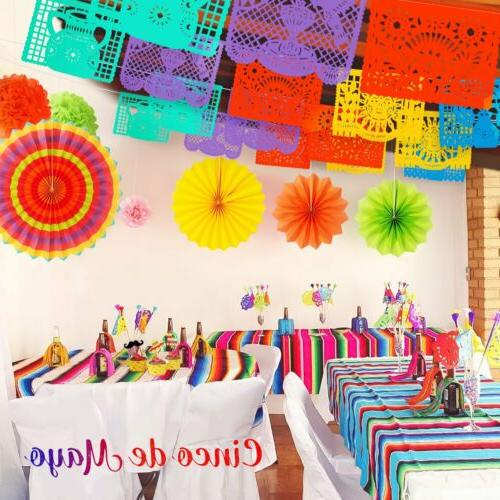 45pc Fiesta Party Papel Banner Cupcake Topper Table Poms