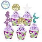 48 Pack Mermaid Cupcake Toppers & Wrappers for Baby Shower B