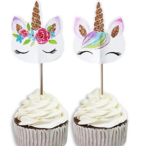 48 Pack RAINBOW Unicorn Cupcake Picks Sided For Birthday Bab