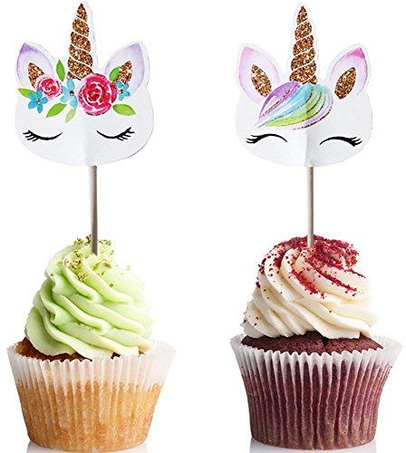 48 Pack RAINBOW Unicorn Cupcake Double Sided Bab