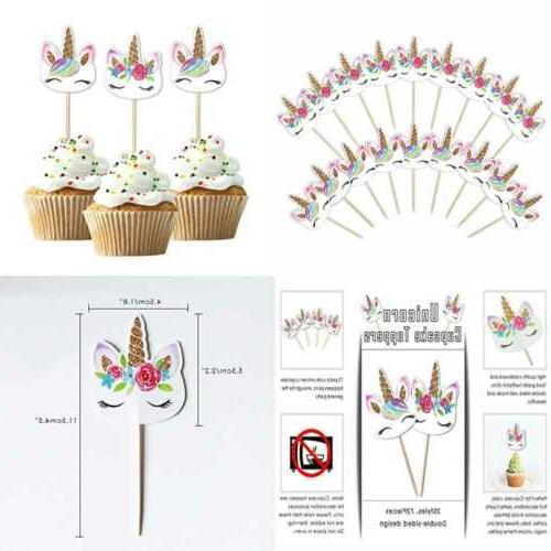 48 pack rainbow unicorn cupcake toppers picks