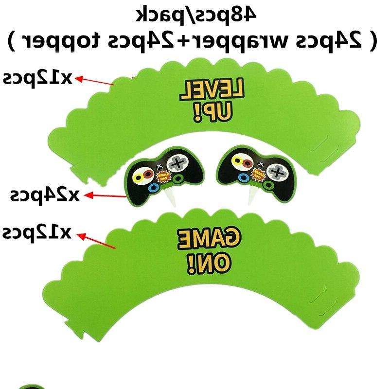 48 pcs=24 Sets <font><b>Game</b></font> Controller cake <font><b>toppers</b></font> Birthday decoration supplies gamepad kids