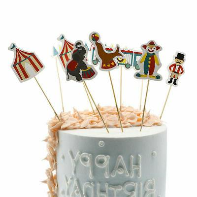 48pcs 1set circus cupcake stick toppers children