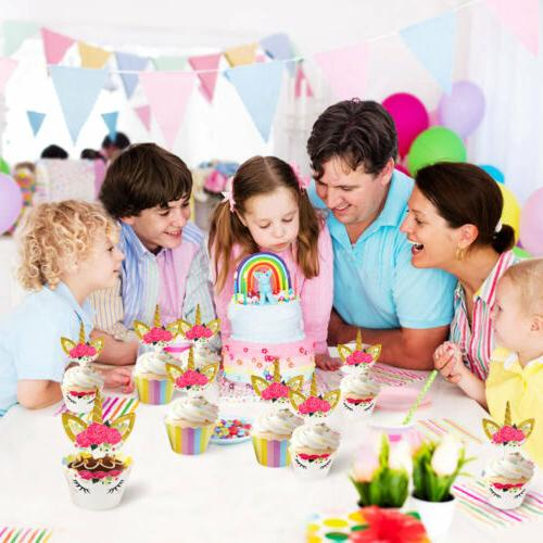 48pcs Rainbow Unicorn Birthday Party Decor