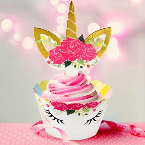 48pcs Unicorn Toppers Wrappers Birthday Party Cake