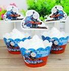 Set of 12 Thomas The Train Party Cupcake Wrappers And Topper