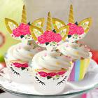 48pcs Unicorn Cupcake Toppers + Wrappers Kids Birthday Sided