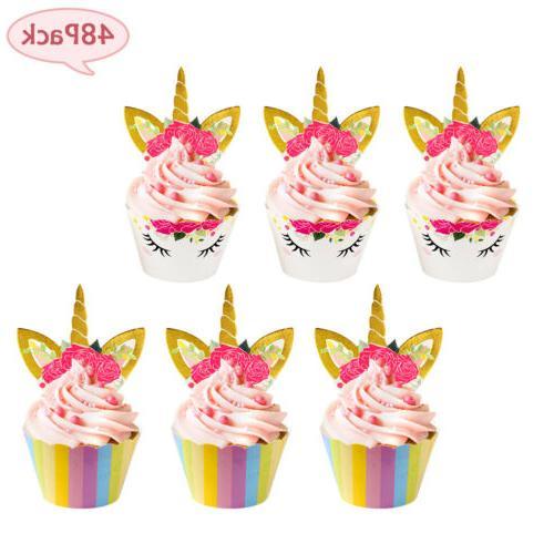 48pcs unicorn cupcake wrapper cake topper party