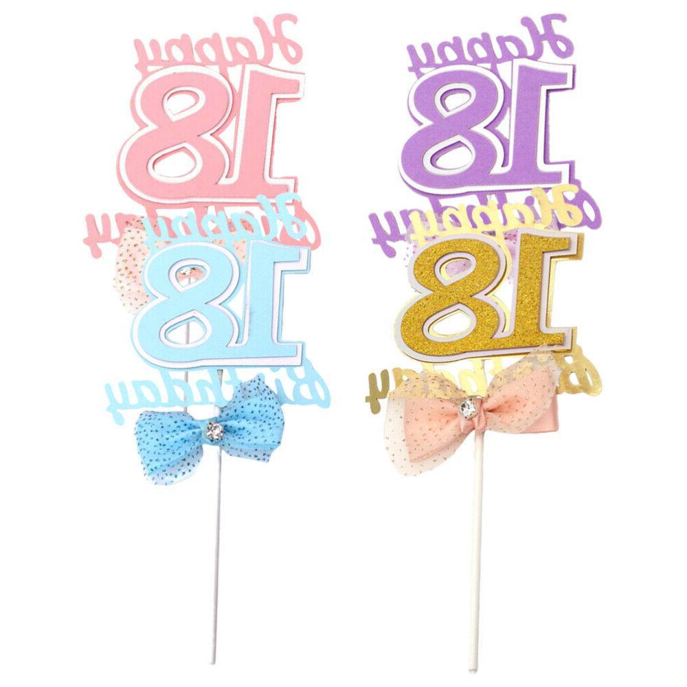 4pcs bowknot cake picks 18 years old