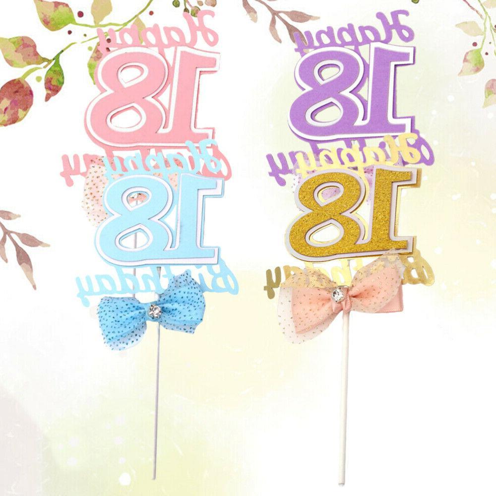 4pcs Picks 18 Old Paper Birthday Cake Topper