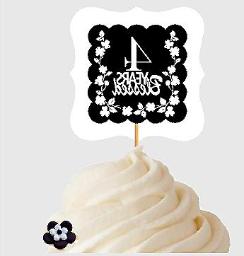 4th Birthday / Anniversary Blessed Cupcake Decoration Topper