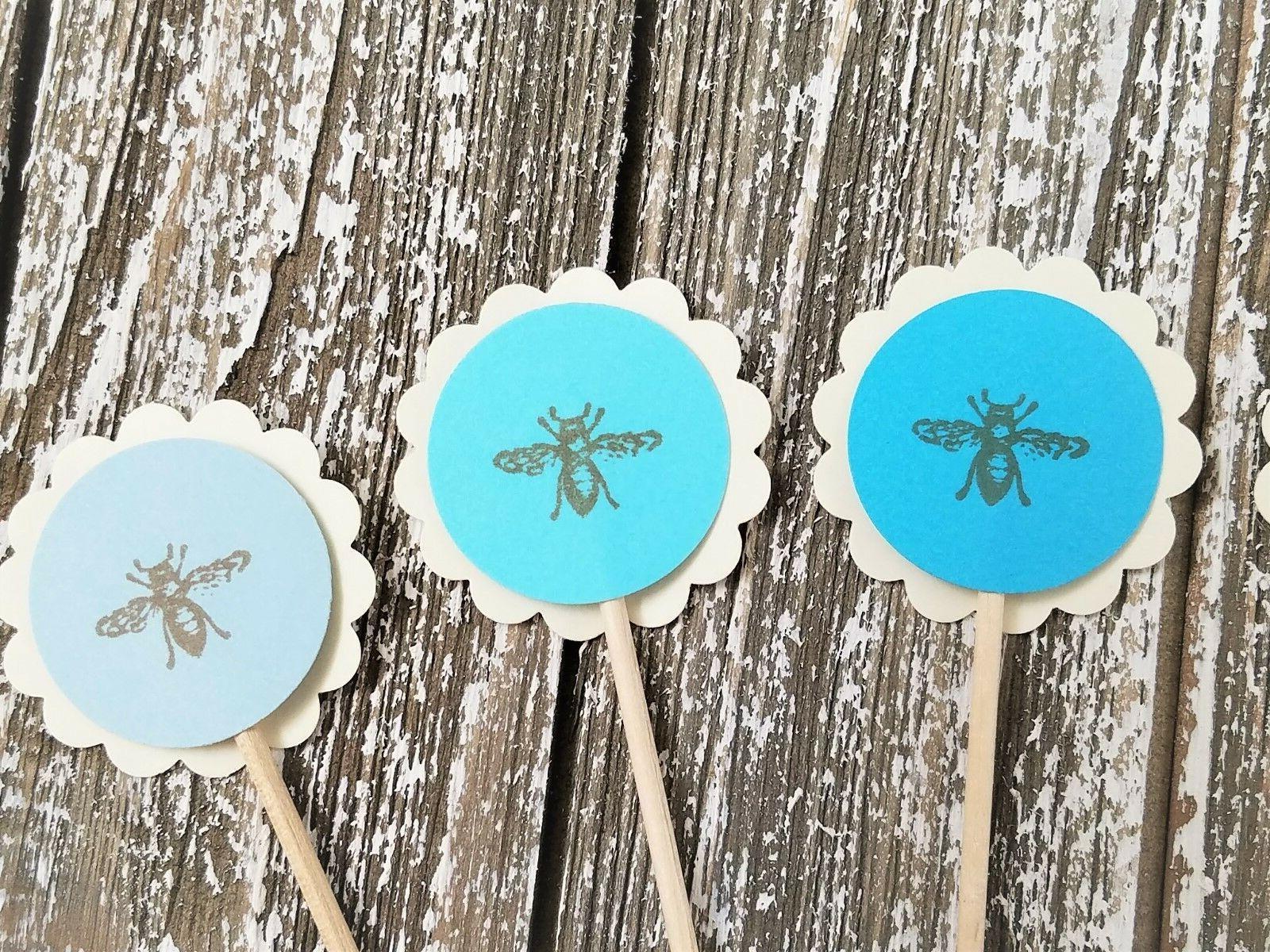 50 Bee Cupcake Toppers Wedding Baby Shower Its a Boy Birthda