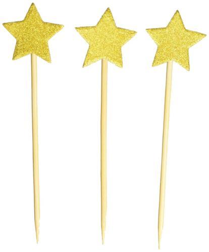 50pack cupcake topper glitter gold star cakes