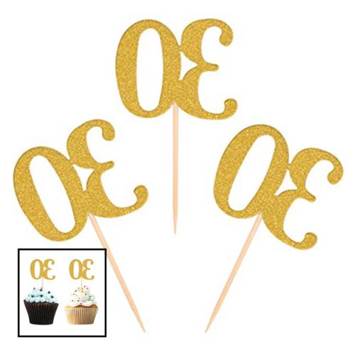 50Pcs 30Th Cupcake Toppers GOLD Glitter Number 30 Cake Picks