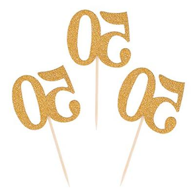 50pcs 50th cupcake toppers gold glitter number