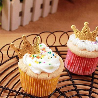 50pcs Gold Crown Toppers,Wedding Picks,Food 4*2.5cm JH