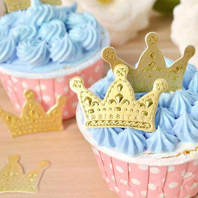 50pcs Gold Crown Toppers,Wedding Picks,Party 4*2.5cm JH