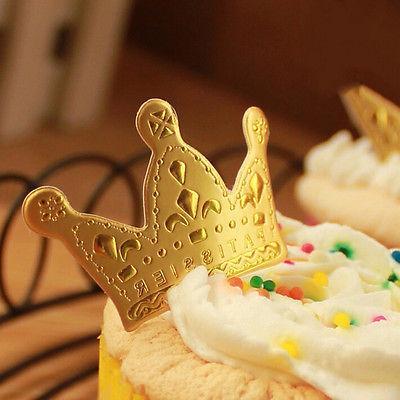 50pcs gold crown cupcake toppers wedding picks