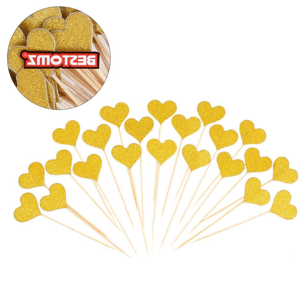 BESTOMZ 50pcs Toppers Gold Large Cupcake